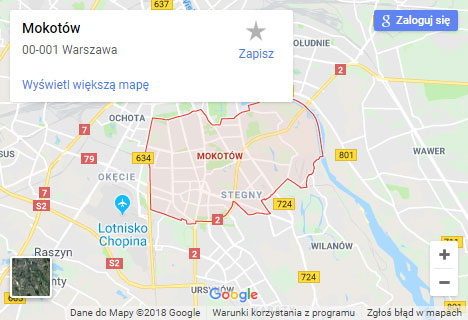 Mapa Google hydraulik Warszawa Mokotów